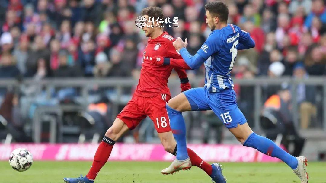 德甲第23轮 拜仁1:0赫塔 哈马破门 多赛一场追平多特4